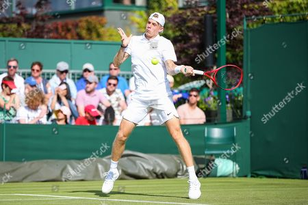 Denis Shapovalov of Canada during the men's singles first round match of the Wimbledon Lawn Tennis Championships against Ricardas Berankis of Lithuania