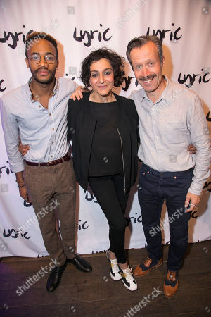 Stock Picture of Enyi Okoronkwo (Tim Allgood), Meera Syal (Dotty Otley) and Jonathan Cullen (Freddie Fellows)