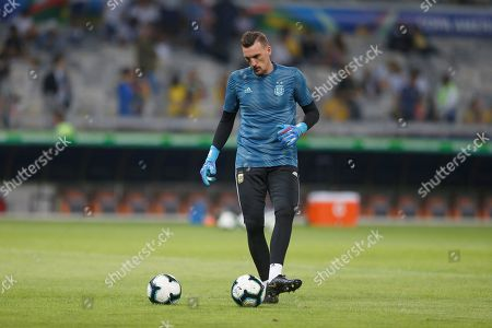 Argentinian goalkeeper Franco Armani warms up prior the Copa America 2019 semi-finals soccer match between Brazil and Argentina, at Mineirao Stadium in Belo Horizonte, Brazil, 02 July 2019.