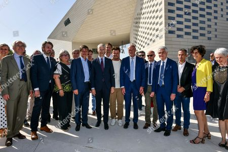 Danish architect Bjarke Ingels, French Culture Minister Franck Riester, Nouvelle Aquitaine president Alain Rousset, Bordeaux's mayor Nicolas Florian and Gironde president Jean Luc Gleyze