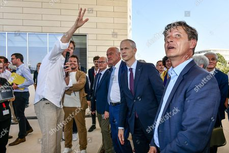 Danish architect Bjarke Ingels, French Culture Minister Franck Riester, Nouvelle Aquitaine president Alain Rousset and Bordeaux's mayor Nicolas Florian