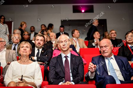 French Culture Minister Franck Riester, Nouvelle Aquiatine president Alain Rousset and Nouvelle Aquitaine Prefect Fabienne Buccio