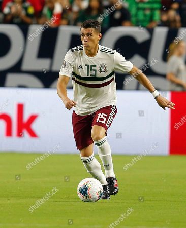 Mexico defender Hector Moreno (15) during the first half of a CONCACAF Gold Cup soccer match against Haiti, in Glendale, Ariz