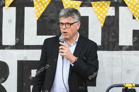 Adviser to Australian Assange campaign Greg Barns speaks during a 48th birthday 'party' for Wikileaks founder Julian Assange at Federation Square in Melbourne, Victoria, Australia, 03 July 2019. Julian Assange, who was arrested in March 2019 at the Ecuadorean embassy in London, Britain, is serving a 50-week prison sentence for breaching his bail in 2012 by entering the embassy in a bid to avoid being extradited to Sweden to face allegations of rape and sexual assault.