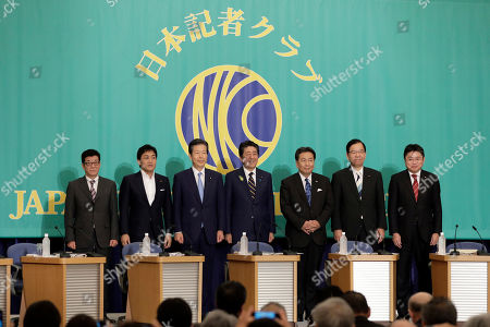 (L-R) Ichiro Matsui, mayor of Osaka and leader of the Nippon Ishin (Japan Innovation Party), Yuichiro Tamaki, leader of the Democratic Party for the People, Natsuo Yamaguchi, chief representative of the New Komeito Party, Shinzo Abe, Japan's prime minister and president of the Liberal Democratic Party (LDP), Yukio Edano, head of the Constitutional Democratic Party of Japan, Kazuo Shii, chairman of the Japanese Communist Party, and Hajime Yoshikawa, secretary general of the Social Democratic Party, pose during a photo session prior to their debate ahead of the upper house election at the Japan National Press Club in Tokyo, Japan, 03 July 2019.