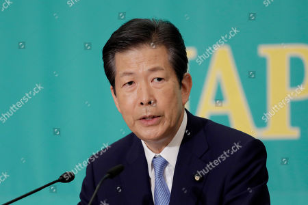 Stock Image of Natsuo Yamaguchi, chief representative of the New Komeito Party, speaks during a debate with other party leaders ahead of the upper house election at the Japan National Press Club in Tokyo, Japan, 03 July 2019.