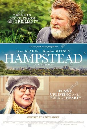Stock Image of Hampstead (2017) Poster Art. Brendan Gleeson as Donald Horner and Diane Keaton as Emily Walters