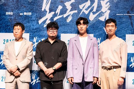 South Korean actor Yoo Hae-jin and movie director Won Shin-yeon and actors Ryu Jun-yeol, Jo Woo-jin