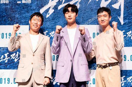 Stock Image of South Korean actors Yoo Hae-jin, Ryu Jun-yeol, Jo Woo-jin
