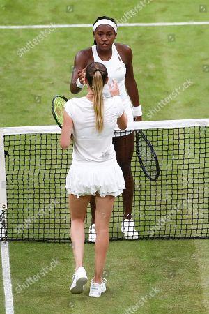 Cori Gauff celebrates victory in her Ladies' Singles second round match against Magdalena Rybarikova