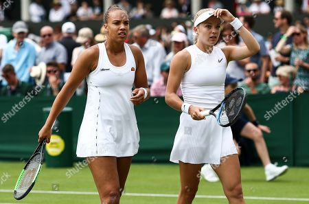 Stock Photo of Freya Christie and Katie Swan during their Ladies doubles first round match