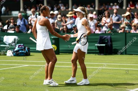 Stock Image of Freya Christie and Katie Swan during their Ladies doubles first round match