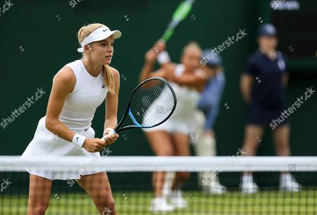 Freya Christie and Katie Swan during their Ladies doubles first round match