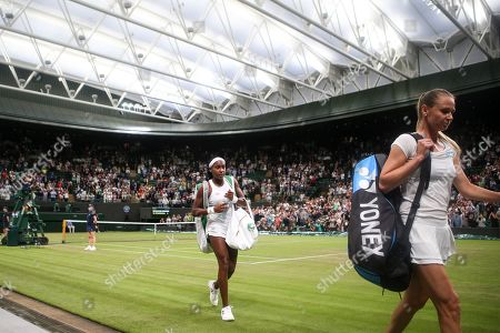 Cori Gauff walks off court after victory in her Ladies' Singles second round match against Magdalena Rybarikova