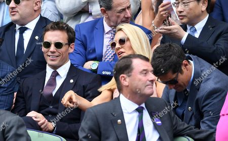 Sam Claflin, Tess Daly and Vernon Kay on Centre Court