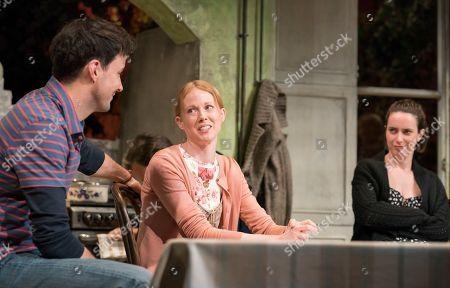 Sam Swainsbury as Carl, Zoe Boyle as Harriet, Kate O'Flynn as Polly