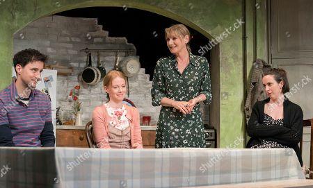 Sam Swainsbury as Carl, Zoe Boyle as Harriet, Lesley Sharp as Sal, Kate O'Flynn as Polly