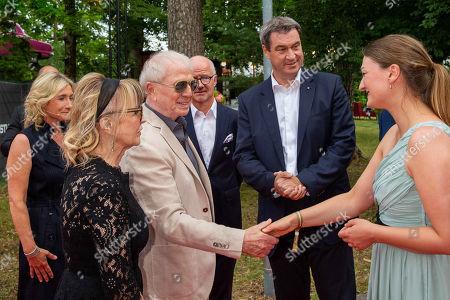 Wolfgang Petersen and wife Maria, Markus Soeder, Judith Gerlach