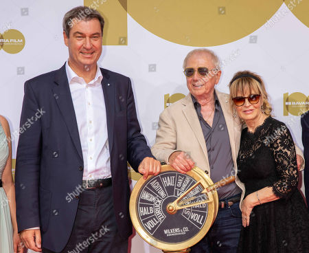 Stock Picture of Markus Soeder, Wolfgang Petersen and wife Maria