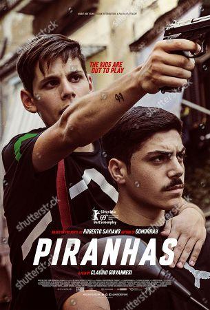 Stock Image of Piranhas (2019) Poster Art. Francesco Di Napoli as Nicola and Pasquale Marotta as Agostino