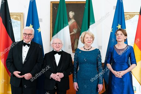 German President Frank-Walter Steinmeier (L) and his wife Elke Buedenbender (R) and Irish President Michael D. Higgins (2-L) and his wife Sabina Higgins (2-R) pose before a gala dinner given by German president at Bellevue Palace in Berlin, Germany, 03 July 2019. Irish President Higgins is on a three-days state visit to Germany.