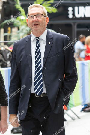 General Secretary of Unite the Union Len McCluskey arrives at the BBC. Later he will appear on the Andrew Marr Show.