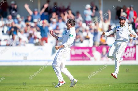 Yorkshire's Duanne Olivier celebrates as he takes the final wicket of Surrey's Gareth Batty to seal victory for his side.