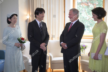 Japan's Crown Princess Kiko (L) and Crown Prince Akishino (2-L) are welcomed by Finland's President Sauli Niinisto (2-L) and his wife Jenni Haukio (R) at the Presidential Summer Residence Kultaranta in Naantali, Finland, 03 July 2019. The Crown Prince and Crown Princess from Japan are on a four-day visit to Finland that will mark 100 years of diplomatic relations between the two countries.