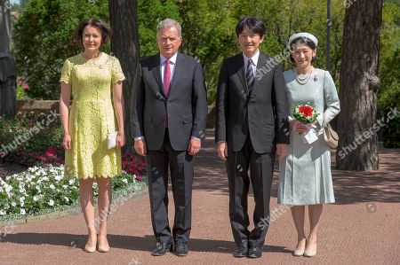 (R-L) Japan's Crown Princess Kiko and Crown Prince Akishino meet with Finland President Sauli Niinisto and his wife Jenni Haukio outside the Presidential Summer Residence Kultaranta in Naantali, Finland, 03 July 2019. The Crown Prince and Crown Princess from Japan are on a four-day visit to Finland that will mark 100 years of diplomatic relations between the two countries.