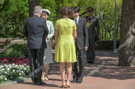 Japan's Crown Princess Kiko (2-L) and Crown Prince Akishino (R) are welcomed by Finland's President Sauli Niinisto (L) and his wife Jenni Haukio outside the Presidential Summer Residence Kultaranta in Naantali, Finland, 03 July 2019. The Crown Prince and Crown Princess from Japan are on a four-day visit to Finland that will mark 100 years of diplomatic relations between the two countries.
