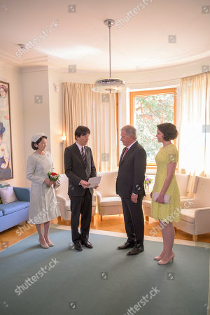 (2-L-R) Japan's Crown Princess Kiko and Crown Prince Akishino meet with Finland's President Sauli Niinisto and his wife Jenni Haukio at the Presidential Summer Residence Kultaranta in Naantali, Finland, 03 July 2019. The Crown Prince and Crown Princess from Japan are on a four-day visit to Finland that will mark 100 years of diplomatic relations between the two countries.