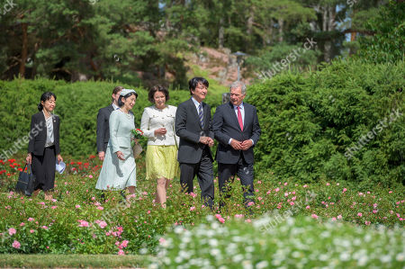Japan's Crown Princess Kiko (L) and Crown Prince Akishino (2-R) are welcomed by Finland's President Sauli Niinisto (R) and his wife Jenni Haukio (2-L) outside the Presidential Summer Residence Kultaranta in Naantali, Finland, 03 July 2019. The Crown Prince and Crown Princess from Japan are on a four-day visit to Finland that will mark 100 years of diplomatic relations between the two countries.