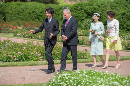 Japan's Crown Princess Kiko (2-R) and Crown Prince Akishino (L) are welcomed by Finland's President Sauli Niinisto (2-L) and his wife Jenni Haukio (R) outside the Presidential Summer Residence Kultaranta in Naantali, Finland, 03 July 2019. The Crown Prince and Crown Princess from Japan are on a four-day visit to Finland that will mark 100 years of diplomatic relations between the two countries.