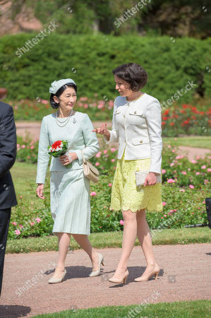 Japan's Crown Princess Kiko (L) is welcomed by Finland's President wife Jenni Haukio (R) outside the Presidential Summer Residence Kultaranta in Naantali, Finland, 03 July 2019. The Crown Prince and Crown Princess from Japan are on a four-day visit to Finland that will mark 100 years of diplomatic relations between the two countries.