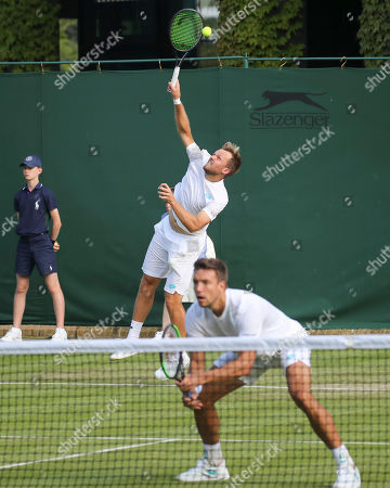 Andreas Mies and Kevin Krawietz in action during their doubles match