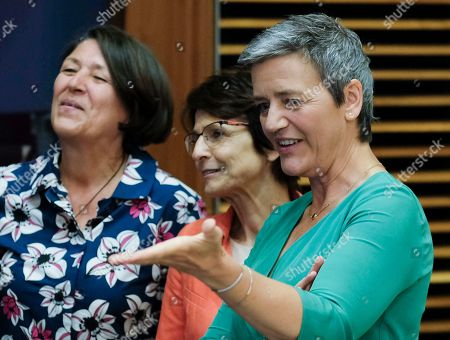 EU Commissioner for Competition, Danish Margrethe Vestager with European Commissioner in charge of transport Violeta Bulc (L) and European Commissioner for Employment, Social Affairs, Skills and Labour Mobility, Marianne Thyssen (C) at the start of the weekly college meeting of the European Commission in Brussels, Belgium, 03 July 2019.