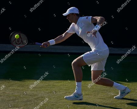 Kevin Anderson of South Africa in action against Janko Tipsarevic of Serbia in their second round match during the Wimbledon Championships at the All England Lawn Tennis Club, in London, Britain, 03 July 2019.