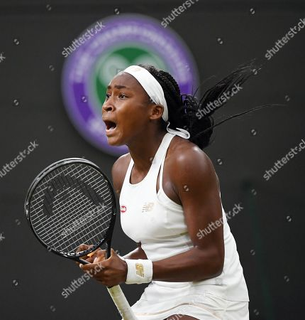 Cori Gauff of the US celebrates her win over Magdalena Rybarikova of Slovakia in their second round match during the Wimbledon Championships at the All England Lawn Tennis Club, in London, Britain, 03 July 2019.