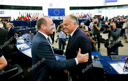 Manfred Weber, Esteban Gonzalez Pons during the Plenary session, Election of the President of the European Parliament