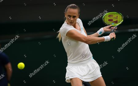 Magdalena Rybarikova of Slovakia in action during her second-round match