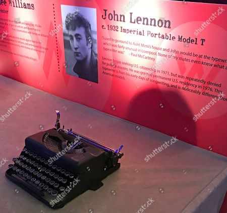 """This photo shows a typewriter once owned by John Lennon and now on display in a special exhibit on typewriters at the American Writers Museum in Chicago. A younger generation is discovering the joy of the feel and sound of the typewriter. Two recent documentaries, """"The Typewriter (In The 21st Century)"""" (2012) and """"California Typewriter"""" (2016), featuring collector Tom Hanks, have helped popularize vintage typewriters among young people, who also have a soft spot for other analog technologies like vinyl records and fountain pens"""