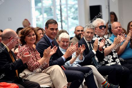 Stock Image of Acting Spanish Deputy Prime Minister, Carmen Calvo Poyato (2-L), acting Prime Minister Pedro Sanchez (3-L) LGTBI activist Botin Garica (4-L), acting Spanish Home Minister Fernando Grande-Marlaska (5-L) and film director Pedro Almodovar (6-L) attend an event to mark the 50th anniversary of Stonewall and the beginning of the Pride Week, at La Moncloa Palace, the Prime Minister's official residence, in Madrid, Spain, 03 July 2019. The gay pride events will run in Madrid from 03 to 07 July.