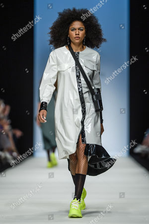 A model presents a creation by Austrian designer Rebekka Ruetz during the Mercedes-Benz Fashion Week in Berlin, Germany, 03 July 2019. The Spring/Summer 2020 collections are presented at the MBFW Berlin from 01 to 03 July.