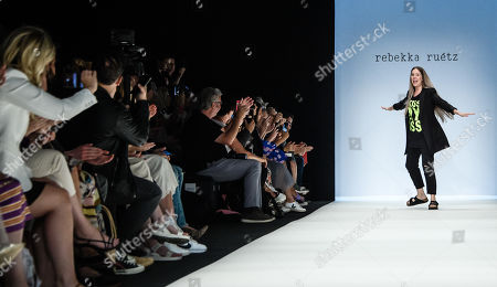 Austrian designer Rebekka Ruetz appears on the catwalk at the of her show during the Mercedes-Benz Fashion Week in Berlin, Germany, 03 July 2019. The Spring/Summer 2020 collections are presented at the MBFW Berlin from 01 to 03 July.