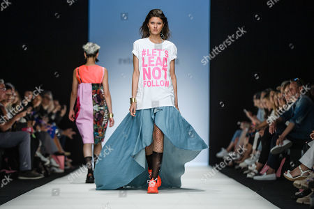 Models present creations by Austrian designer Rebekka Ruetz during the Mercedes-Benz Fashion Week in Berlin, Germany, 03 July 2019. The Spring/Summer 2020 collections are presented at the MBFW Berlin from 01 to 03 July.