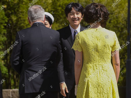 Stock Picture of President of the Republic of Finland Sauli Niinistö and Mrs Jenni Haukio host Crown Prince Akishino and Crown Princess Akishino of Japan at the Kultaranta Castle, the Presidential Summer Residence, in Naantali, Finland