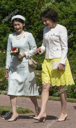 Crown Princess Akishino of Japan talks with Mrs Jenni Haukio, wife of Finnish President, as they meet at the Kultaranta Castle, the Presidential Summer Residence, in Naantali, Finland