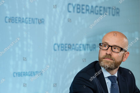 Parliamentary Secretary of State at the Federal Ministry of Defense Peter Tauber while signing a letter of intent to found the Cyber Agency of the Federal Republic of Germany in Schkeuditz, Germany, 03 July 2019. The Cyber Agency is a building block of the Federal Government to protect the citizens of the country in cyberspace. The Agenur is to have its permanent seat at Leipzig-Halle Airport.