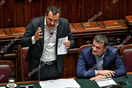 Italian Deputy Premier and Interior Minister Matteo Salvini and the Minister For Agricultural Resources Gian Marco Centinaio (R) during question time at the Chamber of Deputies, Rome, Italy, 03 July 2019.