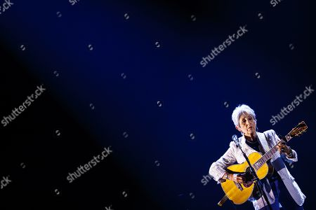 Joan Baez performs on stage of the Auditorium Stravinski during the 53rd Montreux Jazz Festival (MJF), in Montreux, Switzerland, 03 July 2019. The MJF runs from June 28 to July 13 and features 450 concerts.